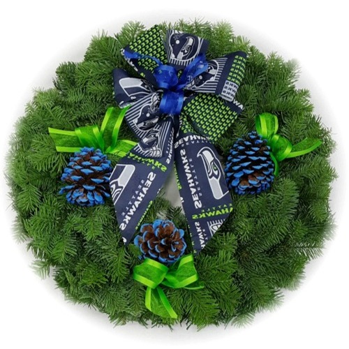 Seattle Seahawks Christmas Wreath Seahawks Noble Fir